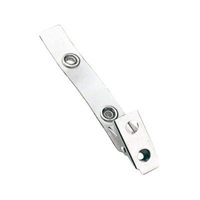 2.75'' Clear Vinyl 2-Hole Badge Clip - 100 per pack