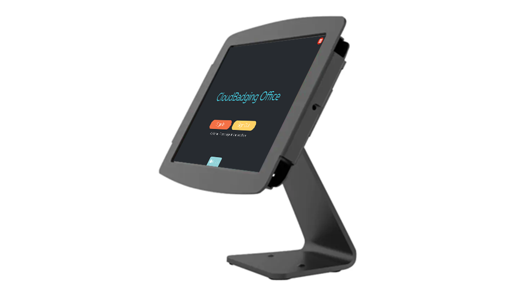 CloudBadging Location Management on physical countertop kiosk.