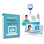 Shop CloudBadging Secure ID Management  & two ID cards with standard badge reel